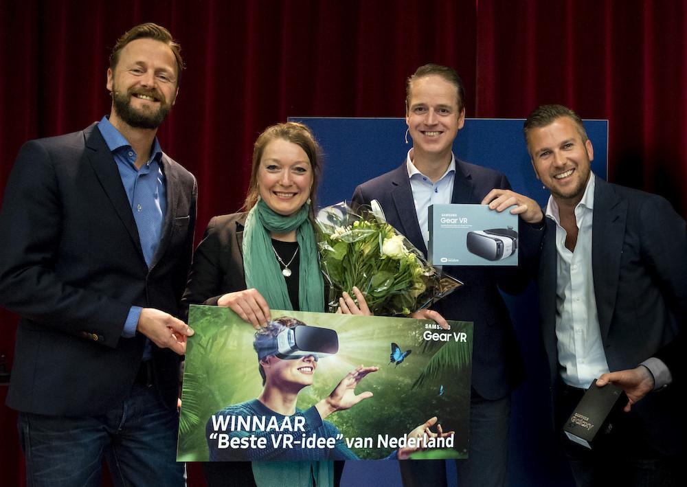 Donderdag 26 mei 2016 — Amsterdam, 26 mei 2016 – Dana-Maria Faneker van CaptainVR heeft met 'VRees of Liefde' het beste idee voor Virtual Reality in Nederland bed...